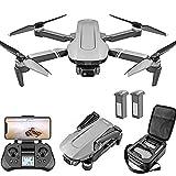 Drone con cámara GPS Drone con cámara 4K Uhd para Adultos y Principiantes, FPV Quadcopter con Retorno automático a casa, Sígueme, Altitude Hold, Funciones Tap Fly, Incluye 2 baterías y Mochi