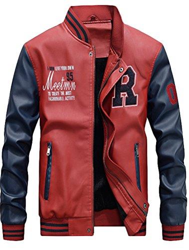 Vogstyle Hombres Cuero de Invierno la de Chaqueta de la PU de Béisbol con Chaquetas Rojo XL