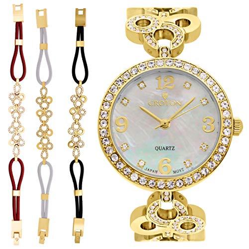 Croton Damen goldfarbenes Perlmutt Zifferblatt Armbanduhr mit Kristall Lünette & Armband Set–cn407567ylmp