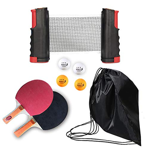 Amazing Deal FRIUSATE Table Tennis Set, Portable Ping Pong Set, Ping Pong Table Net for Kids Adults Indoor Outdoor Game Fits School, Home, Sports Club, Office Anywhere(Red)