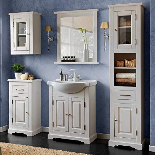 Lomadox Landhaus Badmöbel Set Massivholz weiß Waschtischunterschrank & Keramik Waschbecken