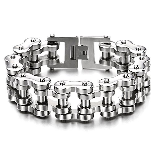COOLSTEELANDBEYOND Heavy Sturdy Mens Motorcycle Chain Bike Chain Bracelet of Stainless Steel Silver Color Polished