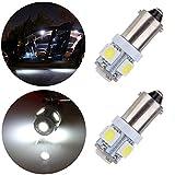 cciyu 2 Pcs T11 BA9S 5-5050-SMD LED White Light Bulb Car 12V Lamp T4W 3886X H6W 363