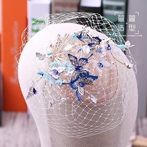 SWAQS Tocado Novia Coreana Sombrero Azul Mariposa Hilo Neto Mariposa Tocado Cristal con Cuentas Accesorios para El Cabello Vestido De Novia con Joyería Sombrero (Caja De Regalo)