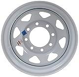 Equipment Trailer Rim Wheel 16 in. 16X6 8 Hole Bolt Lug White Spoke Rim Only