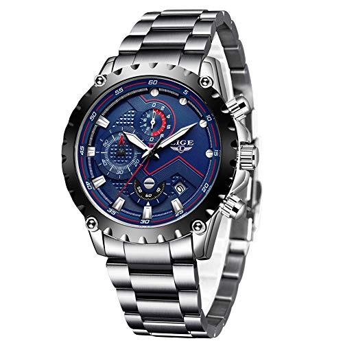 LIGE Herren Schwarz Uhren Männer Militär Wasserdicht Sport Groß Chronograph Armbanduhr Mann Mode Blau Datum Kalender Analoge Quarz Uhr