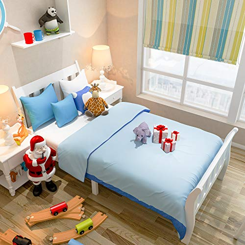 FREDEES Single Bed Solid Wood Bed Frame White Wooden Kids Children Bedroom
