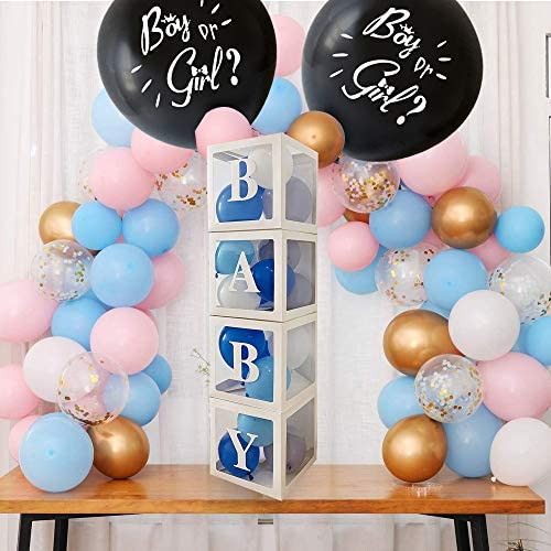 40 Pcs Baby Gender Reveal Party Supplies Kit with 36 Inch Black Gender Reveal Balloons with product image