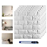 20 Pcs 3D Wall Panels Peel and Stick, White Brick Printable 3D Wallpaper Stick and Peel Self Adhesive Waterproof Foam Faux Brick Paneling for Bedroom, Bathroom, Kitchen, Fireplace (19.38 sq ft )