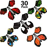 30 Pieces Magic Fairy Flying Butterfly Rubber Band Powered Butterfly Wind up Fairy Butterfly Toy Flying Butterfly Surprise for Girls Boys Party Playing Decoration