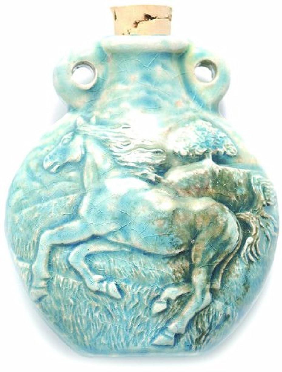 Shipwreck Beads Peruvian Hand Crafted Ceramic Raku Glazed Horse Bottle Pendant, 49mm