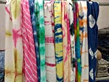 5 Pc Mix Precio al por mayor Indan Pañuelos teñidos a mano Tye N teñidos Bufanda de algodón teñido multicolor estola mujer fiesta desgaste bufandas tamaño 22x72 pulgadas