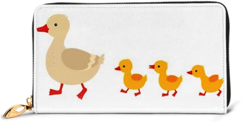 Fashion Handbag Zipper Wallet Mother Duck Ducklings Cute Baby Ducks Phone Clutch Purse Evening Clutch Blocking Leather Wallet Multi Card Organizer
