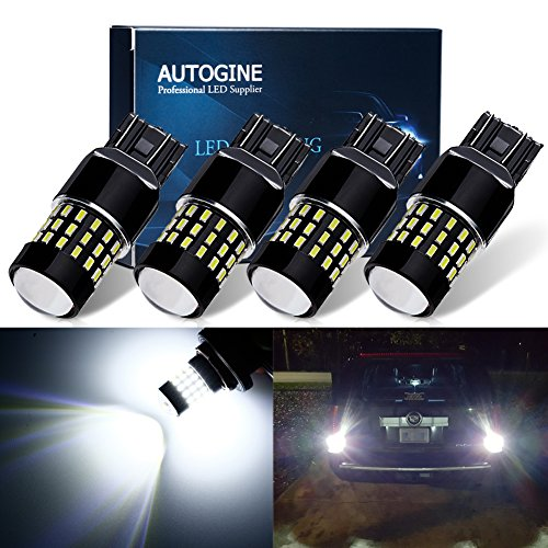 AUTOGINE 4 X 1000 Lumens Super Bright 9-30V 7440 7441 7443 7444 992 LED Bulbs 3014 54-EX Chipsets with Projector for Back Up Reverse Lights DRL Tail Brake Lights, Xenon White