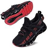 Vivay Kinder Turnschuhe Jungen Sneaker Mädchen Sportschuhe Kinderschuhe Laufschuhe für Unisex-Kinder,2Schwarz Rot,35 EU