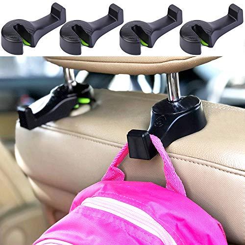 i-Smart 4 Pack Car Hooks, Car Headrest Hook, Purse Hook for Grocery Bag, Vehicle Seat Back Hanger Hook, Holder with Lock - Black