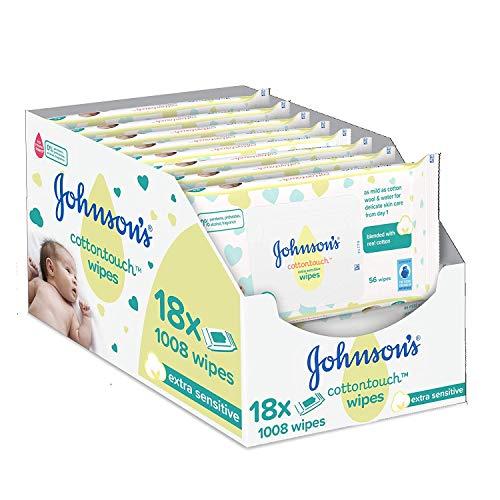 Johnson\'s Baby CottonTouch  Toallitas con Algodón Auténtico - 18 packs de 56 Toallitas - Total: 1008 Toallitas
