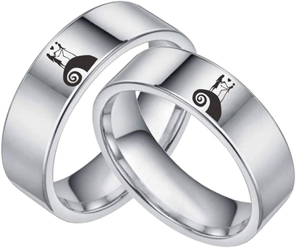 Jack and Sally Moonlit Confession Ring His and Hers Titanium Steel Nightmare before Christmas Band Size 6-12