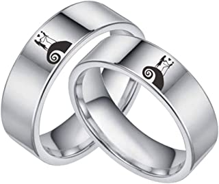 Sping Jewelry Jack and Sally Moonlit Confession Ring His and Hers Titanium Steel Nightmare Before Christmas Band Size 6-12