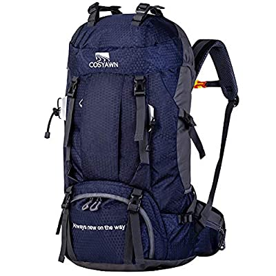 COSYAWN 60L Hiking Backpack Travel Camping Trekking Backpack with Rain Cover for Men Women, Blue