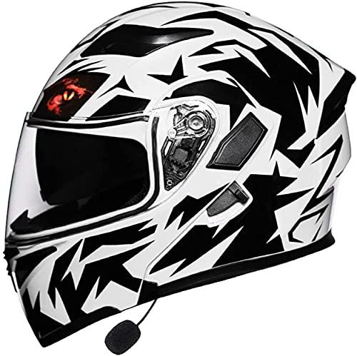 GPFFACAI Casco Integral Moto Mujer Casco de Motocicleta con Tapa Modular Bluetooth de Cara Completa, Casco de Motocicleta para Adultos Aprobado con Visera Doble antivaho617(Color:C;Size:3XL)