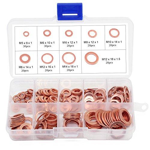 Aussel 9 Größen Flat Copper Washer Flachdichtring Sortiment Kit 200 Stück (9 Size 200PCS)
