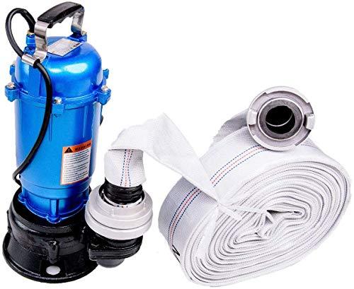 """Wasserpumpe IBO 550W M mit Schwimmschalter + 2"""" Storz C + 50m Schlauch Pumpe 0,55 kW Fäkalienpumpe Tauchpumpe Schmutzwasserpumpe mit Bauschlauch Schwimmer"""