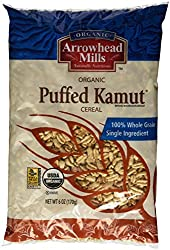 ARROWHEAD MILLS PUFFED KAMUT CEREAL IN PLASTIC PACKAGING