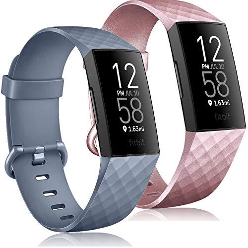 Wanme Silicone Cinturino per Fitbit Charge 3 / Fitbit Charge 4, Impermeabile Cinturini di Ricambio Regolabile, Morbido Adatto per Uomini Donne, Motivo a Rombi