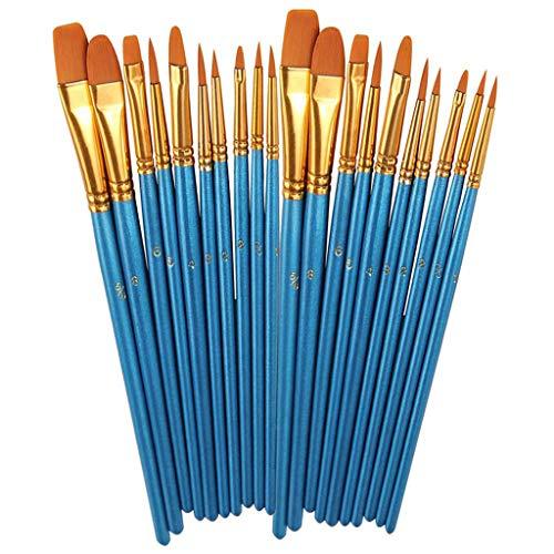 ☀ Dergo ☀ Office & StationeryAcrylic Paint Brush Set 2Packs/20 Pcs Nylon Hair Brushes For All Purpose Oil Watercolor Painting Artist Professional Kits