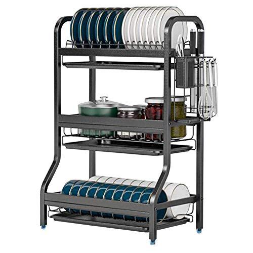 3 Tier Dish Drainer Rack, Stainless Steel Draining Board Rack With Drip Tray, Kitchen Dish Drying Rack Utensils Holder Storage Organizer For Dishes, Bowls, Utensils Kitchen