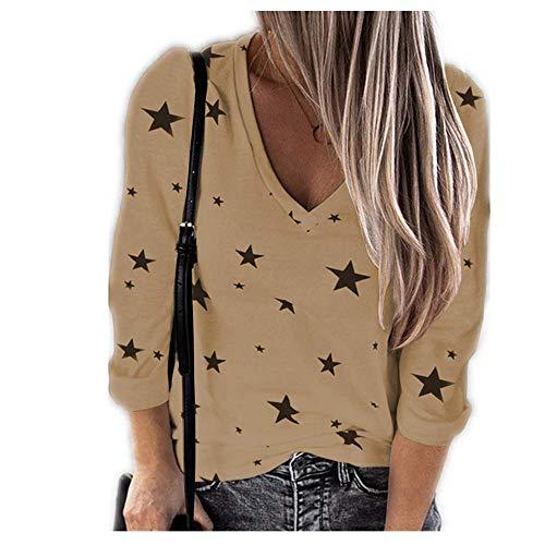 Herbst und Winter V-Ausschnitt Langarm T-Shirt Frauen mit Sterndruck