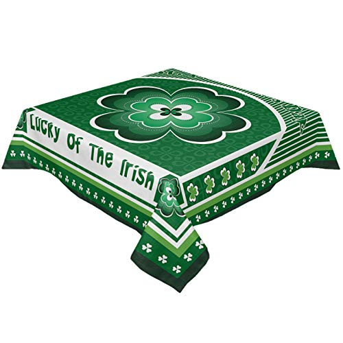 St. Patrick's Day Retro Celtic Knots Tablecloths for Square 54 x 54-inch Table Cover, Cotton Linen Fabric Table Cloth for Dining Room Kitchen, Lucky of The Irish Green Shamrocks Silhouette