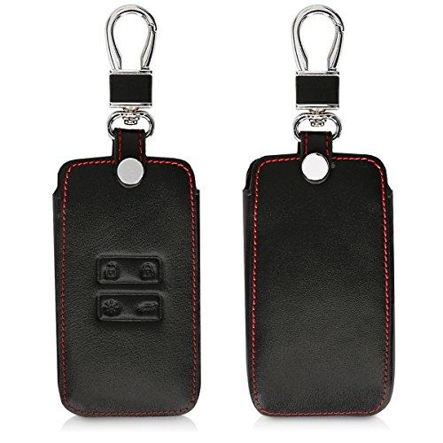 kwmobile Autoschlüssel Hülle kompatibel mit Renault - Kunstleder Schutzhülle Schlüsselhülle Cover kompatibel mit Renault 4-Tasten Smartkey Autoschlüssel (nur Keyless Go) - Schwarz