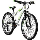 Galano Jugendfahrrad 24 Zoll Mountainbike ab 130 cm 21 Gänge G200 MTB Fahrrad (weiß/grün)