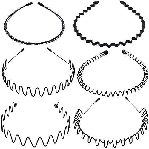 Voarge 6 Pcs Metall Haarband Schwarz Spring Wave Haarband Multi-Style Unisex Flexible Stirnband Zubehör Schwarz für Männer Frauen