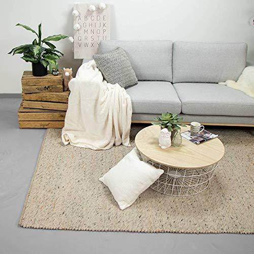 FRAAI   Home & Living Wollteppich – Wise Weiß/Naturel, Wolle, Teppich, super weich und warm,...