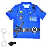 Kids Police Role Play Dress up Set Summer Short Sleeve Uniform Party Cosplay Halloween Costume Boys Girls (3-6Y, Police)