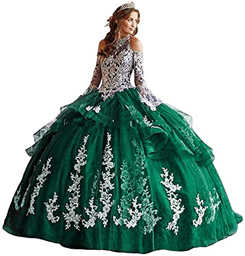 Snow Lotus Damen Neckholder Applique Quinceanera Kleid A Linie Lange Ärmel Ballkleider Gr. 48, smaragdgrün