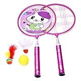 Alomejor Set de Jeu Badminton Multicolore pour Enfants Ensemble avec 2 Raquettes de Badminton + 1 Volants + 1 Balle pour Intérieur ou Extérieur-Bon Cadeau pour Votre Enfants (Rose)