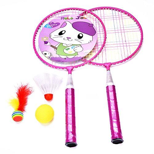 Alomejor 1 Paar Kinder Badminton Schläger und Schläger Tasche(Rosa)