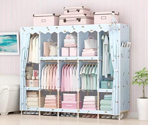 AYUANCHUN Massief hout garderobe - Eenvoudige stof garderobe, Het monteren van de doek garderobe, Eenvoudige moderne kast kast, Kleding opslag organizer,82.7inx 66.9inx 17.7in