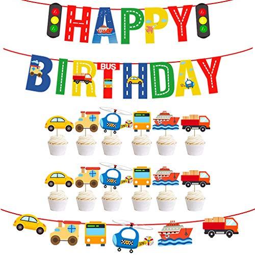 Ouceanwin Decorazioni Compleanno per Bambini, 3 pcs Banner Happy Birthday Trasporto Auto Ghirlanda e 12 pcs Trasporto Topper per Cupcake Aeroplano Nave Decorazione di Torta Bus per Bambine e Bambini