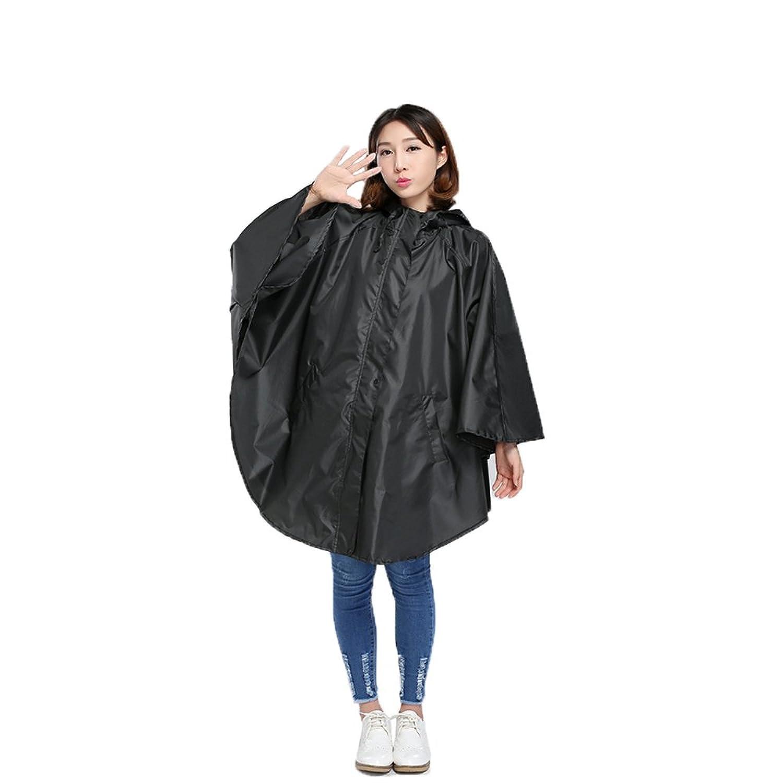 雨具 防水 女性用 通学 便利 クローク スタイル 薄いセクション レインコート 大 ポンチョ Ms. 大人 アウトドア ブラック