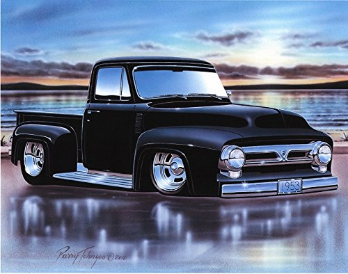 1953 Ford F100 Pickup Hot Rod Truck Art Print Black 11x14 Poster