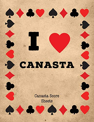 Canasta Score Sheets: Scorebook for Canasta Card Game, Games Scores Pages, 6 Players, Record Scoring Sheet Log Book