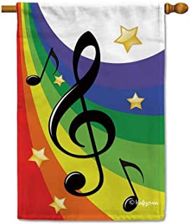 KafePross Music Note G Clef with Rainbow Decorative House Flag for Outside 28X40 inch Print Double Sided