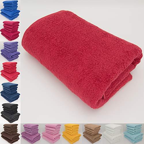 Handtuch-Set, 100 % natürliche Baumwolle, 500 g/m², saugfähig, Hotelqualität, ringgesponnen, 70 x 140 cm Badetücher und 50 x 90 Handtücher, baumwolle, rot, 1 x Bath Towel (70x140 cm)