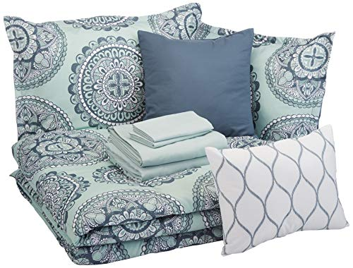 AmazonBasics 10-Piece Comforter Bedding Set, Full / Queen, Sea Foam...