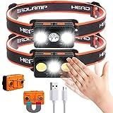 Linterna frontal LED, linterna frontal de 2 piezas Linterna frontal USB recargable, muy brillante Mini linternas frontales livianas, impermeables, perfectas para correr, acampar, pescar, escalar